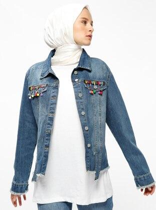 Blue - Unlined - Point Collar - Denim - Jacket