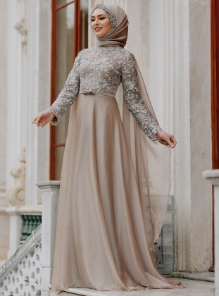 Minc - Multi - Fully Lined - Crew neck - Muslim Evening Dress - Eldia By Fatıma