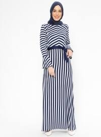 Çizgili Elbise - Lacivert - Nupel