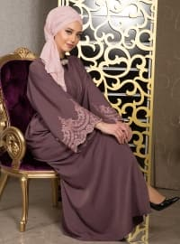 Purple - Unlined - V neck Collar - Abaya