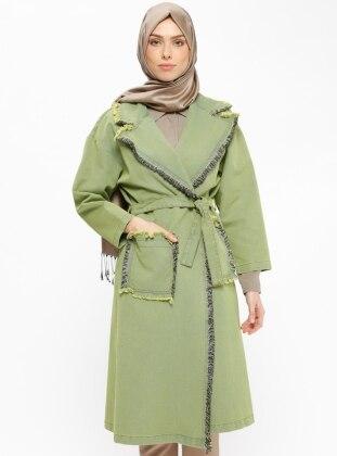 Green - Yellow - Unlined - Shawl Collar - Topcoat