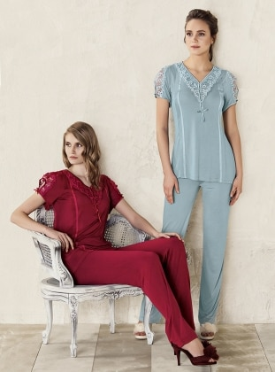 Green – V Neck Collar – Pyjama – Artis Collection