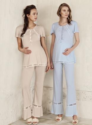 Beige - Crew neck - Pyjama