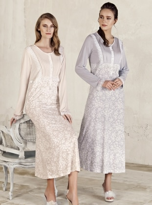 Gray – Multi – Crew Neck – Nightdress – Artis Collection