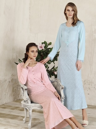 Blue – Multi – Crew Neck – Nightdress – Artis Collection