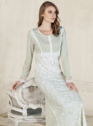 Green – Multi – Crew Neck – Nightdress – Artis Collection