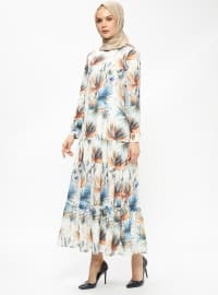 Ecru - Multi - Crew neck - Fully Lined - Dresses