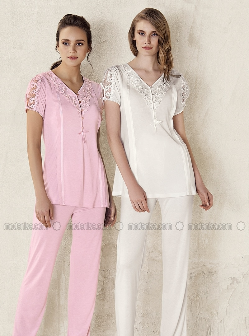 Ecru - V neck Collar - Pyjama