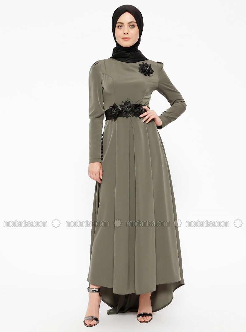 b43b816d3ce Khaki - Fully Lined - Crew neck - Muslim Evening Dress