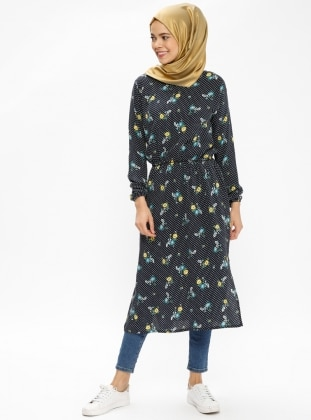 Yellow - Navy Blue - Floral - Multi - Crew neck - Tunic
