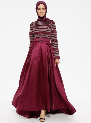 Purple - Plum - Stripe - Fully Lined - Crew neck - Muslim Evening Dress