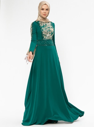 Green - Fully Lined - Crew neck - Muslim Evening Dress 655e2211749f