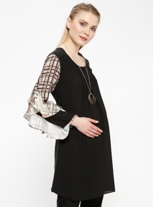 Black – Crew Neck – Multi – Maternity Tunic – Carina