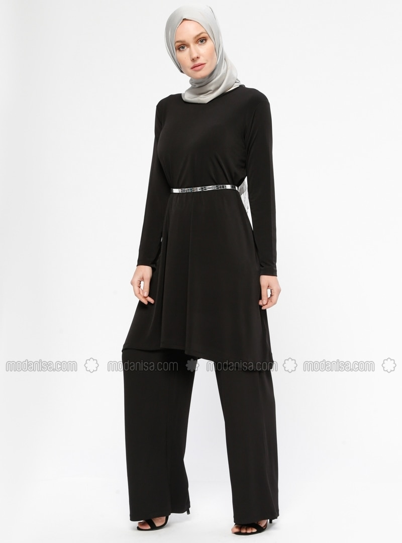 Black   Unlined   Suit   HÜma Sultan by Modanisa
