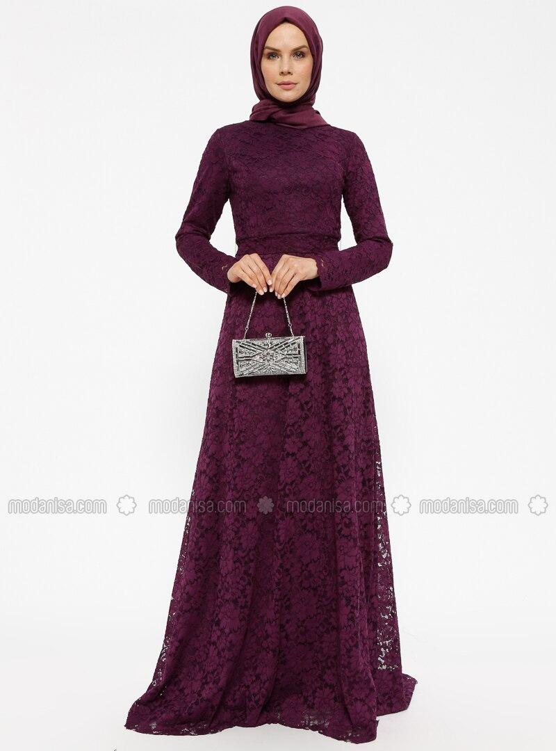 Purple - Plum - Fully Lined - Polo neck - Muslim Evening Dress