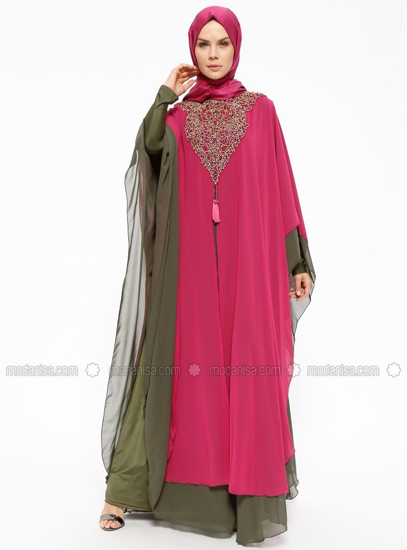 da29c548f72 Pink - Khaki - Fully Lined - Crew neck - Muslim Evening Dress. Fotoğrafı  büyütmek için tıklayın