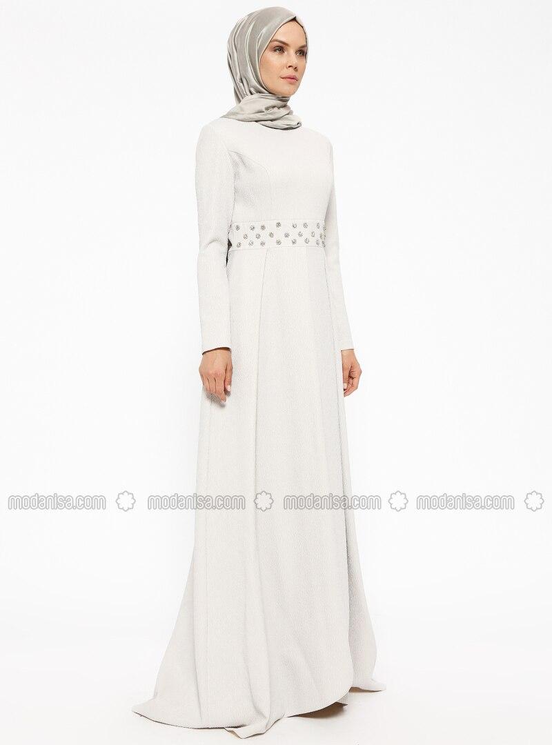 0ea45b57c7a4c Kendinden Simli Taşlı Abiye Elbise - Ekru
