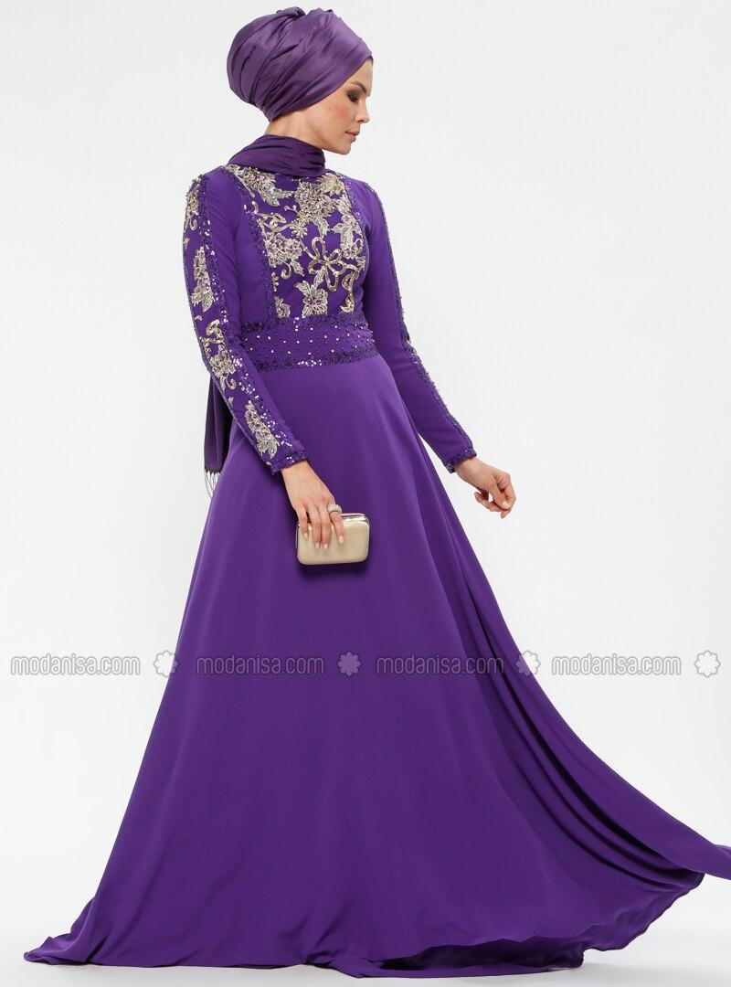Purple - Fully Lined - Crew neck - Muslim Evening Dress
