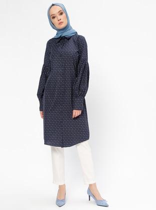 Navy Blue - Multi - Point Collar - Tunic