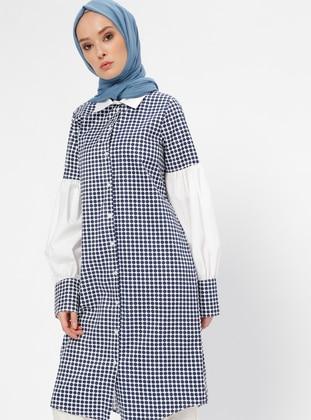 Navy Blue - Polka Dot - Point Collar - Tunic