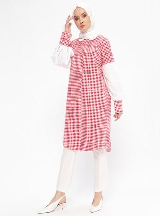 Red - Polka Dot - Point Collar - Tunic