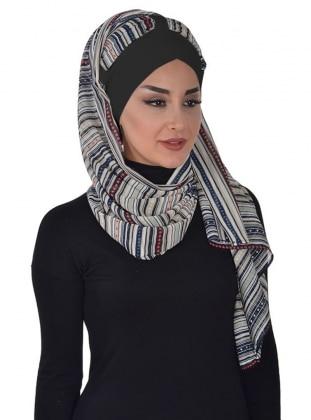 Black - Striped - Instant Scarf