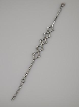 Fsg Takı Gümüş Kaplama Kristal Taşlı Bileklik - Siyah