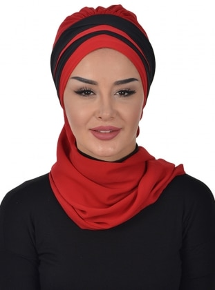 Red - Black - Plain - Instant Scarf