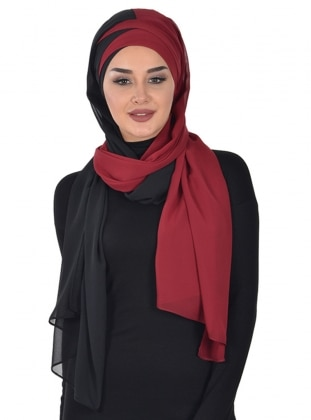 Black - Maroon - Plain - Instant Scarf
