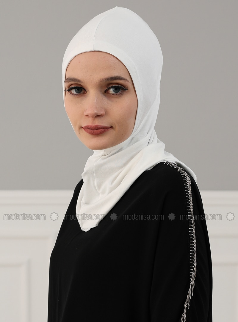 White - Ecru - Plain - Combed Cotton - Instant Scarf