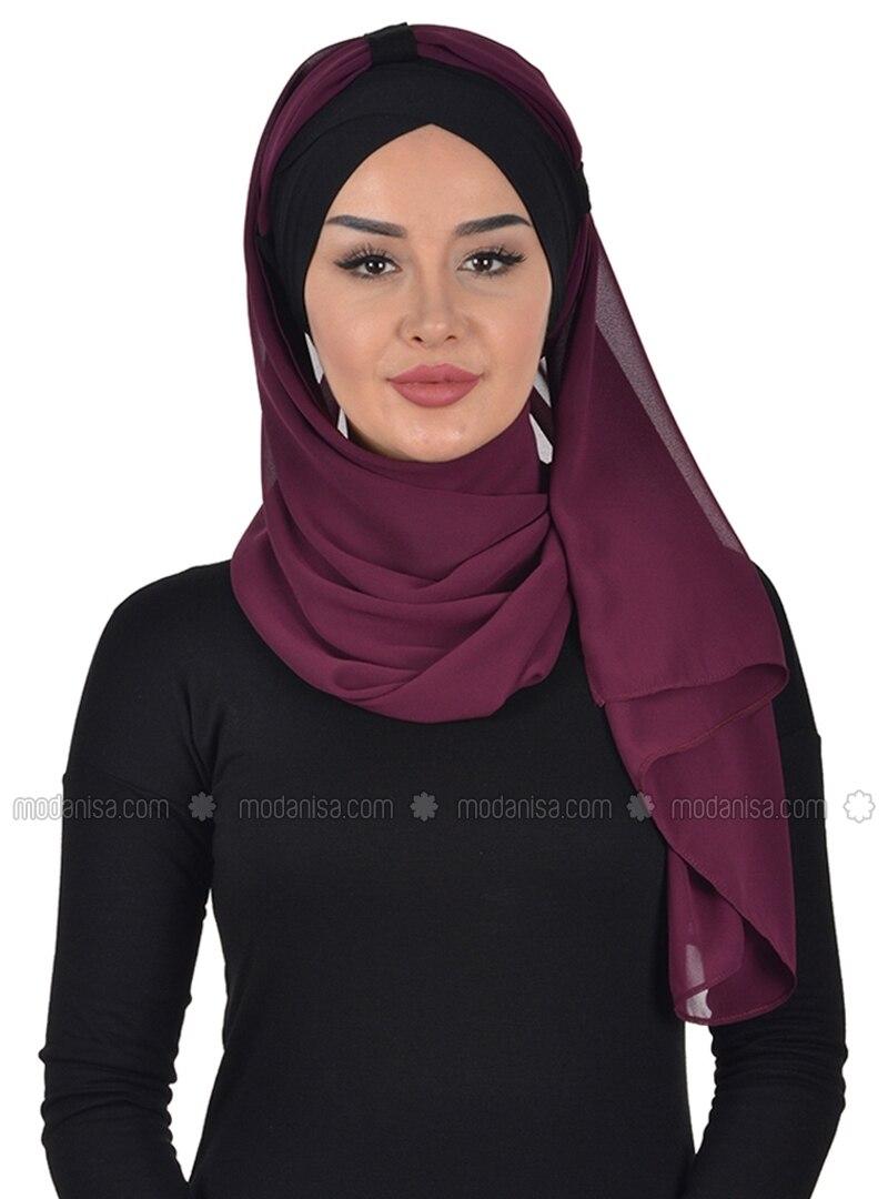 Black - Purple - Plain - Instant Scarf
