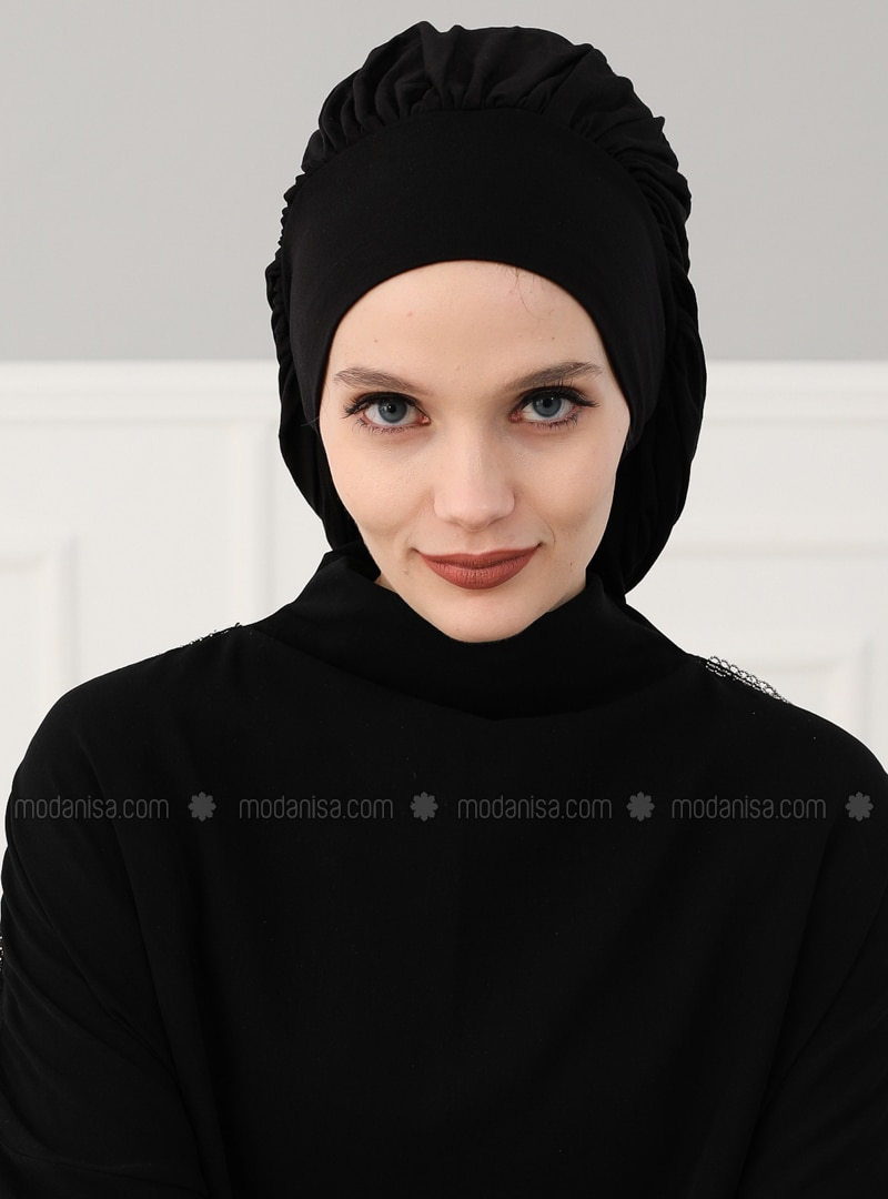 Black - Plain - Combed Cotton - Instant Scarf