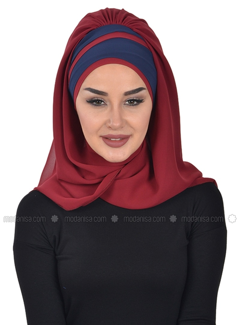 Navy Blue - Maroon - Plain - Instant Scarf