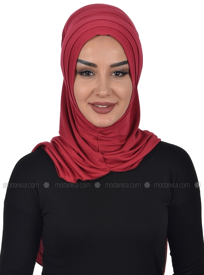 Maroon - Plain - Combed Cotton - Instant Scarf