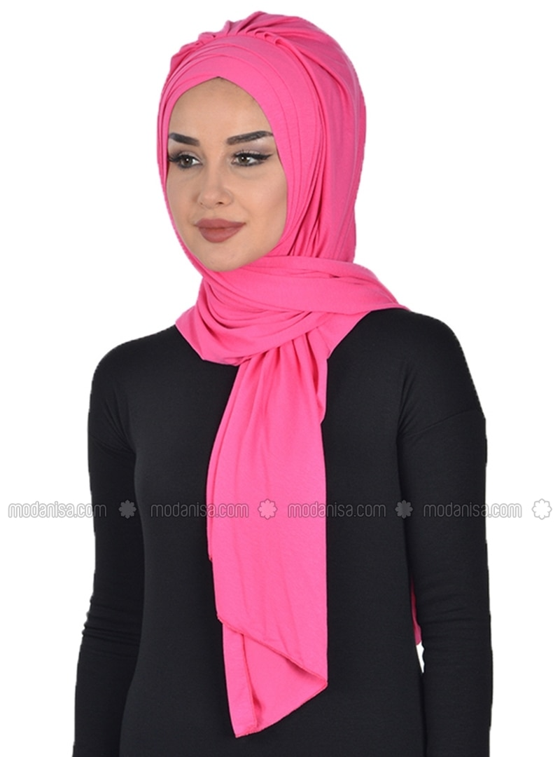 Pink - Purple - Plain - Combed Cotton - Instant Scarf
