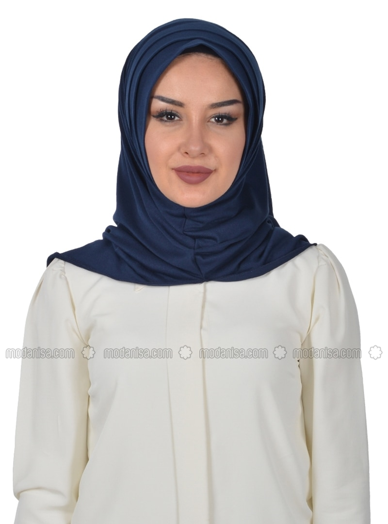 Navy Blue - Plain - Combed Cotton - Instant Scarf