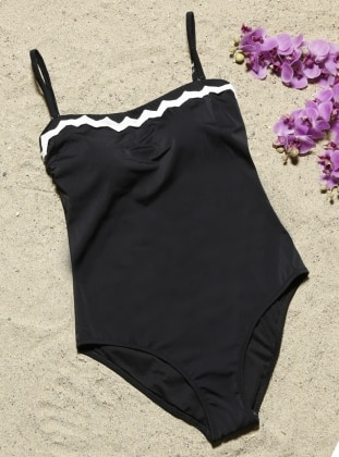 Black - Fully Lined - Half Covered Switsuits - AQUELLA