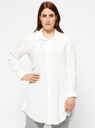 Güpür Detaylı Gömlek - Beyaz - he&de Ürün Resmi