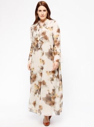 Volanlı Şifon Elbise - Kahve - he&de Ürün Resmi