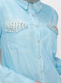 Blue - Point Collar - Blouses