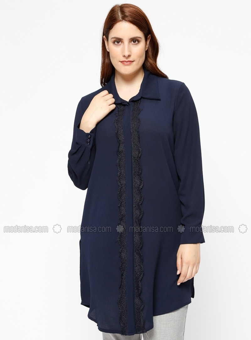 Navy Blue Point Collar Plus Size Blouse
