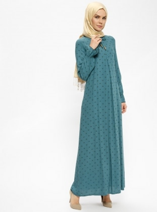 eef86bac0eac9 أخضر - منقطة - قبة مدورة - نسيج غير مبطن - فستان