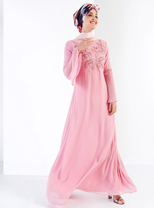 Dusty Rose Fully Lined Crew Neck Muslim Evening Dress
