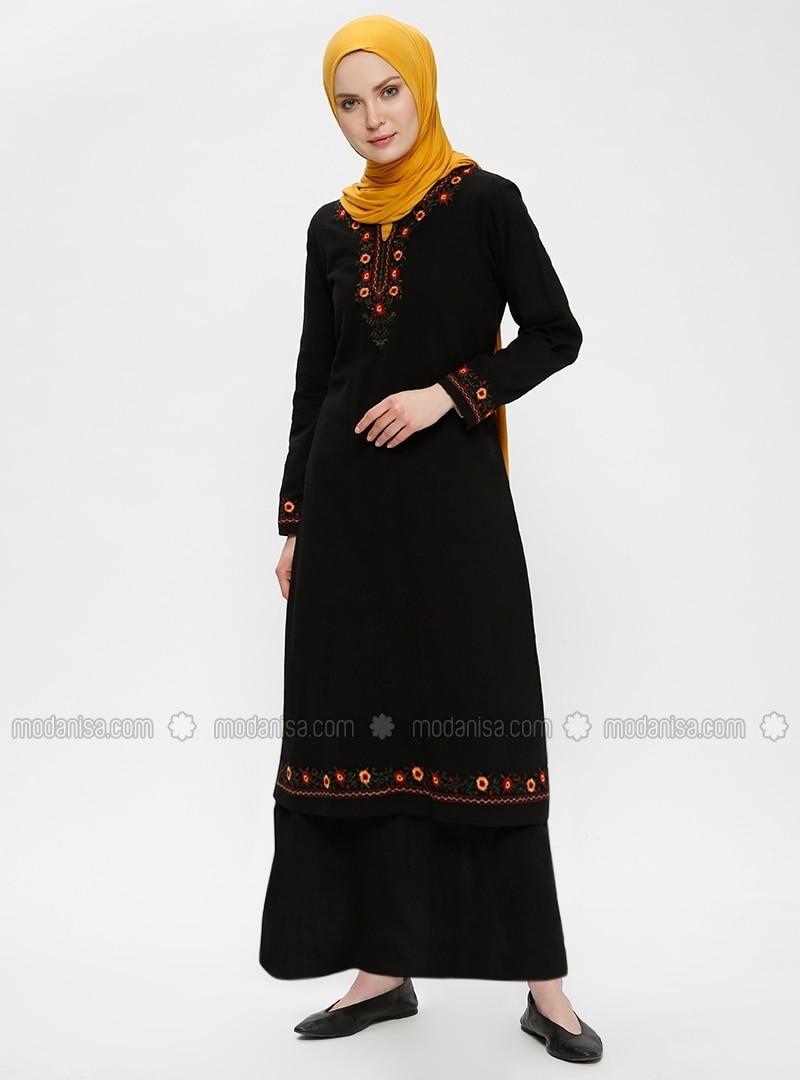 Black - V neck Collar - Fully Lined - Dresses