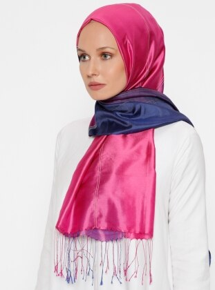 Multi - Printed - Fringe - %100 Silk - Shawl