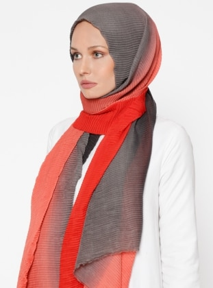 Gray - Coral - Plain - Cotton - Shawl