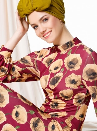 Maroon - Floral - Crew neck - Unlined - Dresses