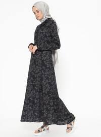 Black - Gray - Multi - Point Collar - Unlined - Dresses