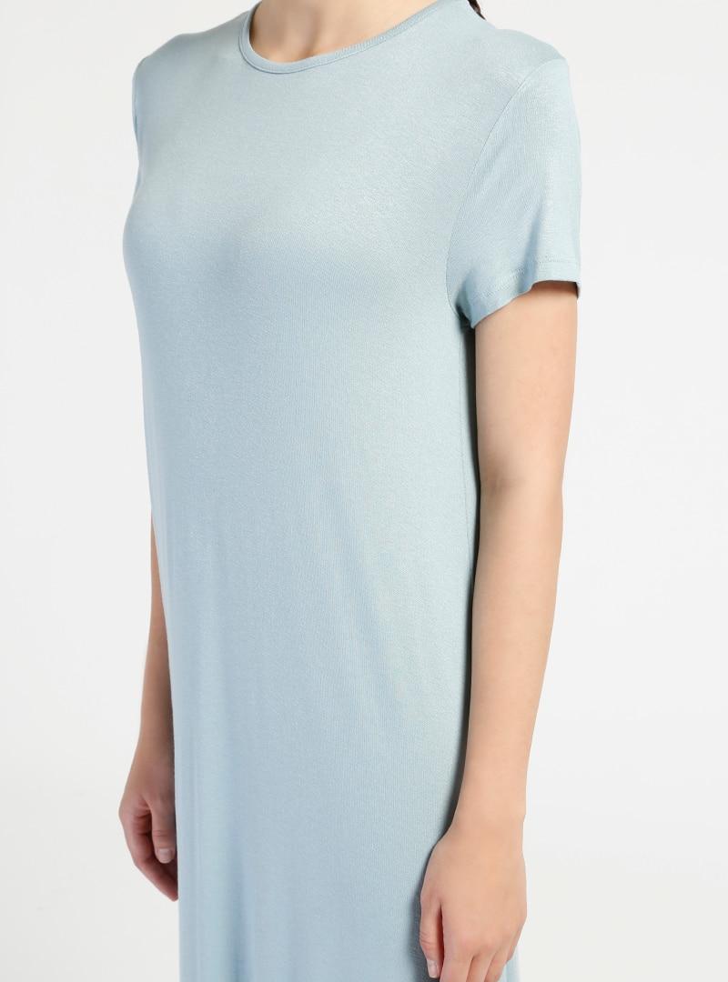 badf5f3fc3575 Everyday Basic Açık Mavi 135 cm Doğal Kumaştan Kısa Kollu Elbise ...