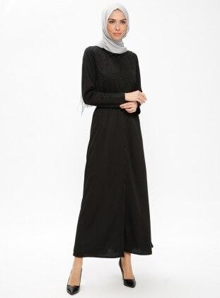 Black - Point Collar - Unlined - Dresses - Dadali 422943